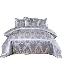 A Nice Night Bedding European Paisley Damask Design Jacquard Duvet Cover Set Queen,Silver