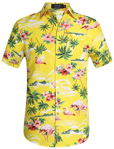 SSLR Men's Flamingos Casual Short Sleeve Aloha Hawaiian Shirt (Medium, Yellow)