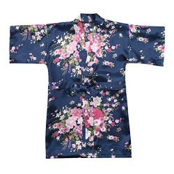 MOMKER Children Girls Silk Robes Satin Robe Short Floral Peacock Japan Kimono Stain Sleepwear Navy