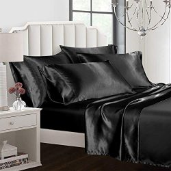 AiMay 6 Piece Bed Sheet Set Deep Pocket Luxury Rich Silk Satin Silky Super Soft Solid Color Hypo ...