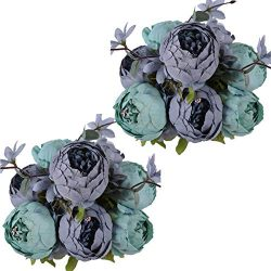 Nubry 2pcs Artificial Peony Silk Flowers Bouquet for Wedding Home Garden Decoration (Gray Blue+G ...