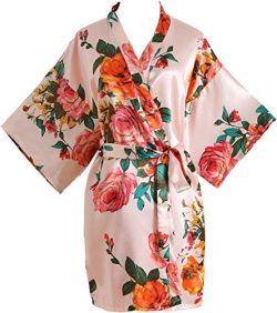 Peony Floral Silk Kimono Robe Bridal Bridesmaid Robes Dressing Gown for Women Pink