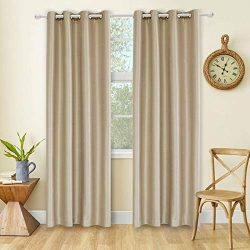 LD AB 100% Blackout Curtain Faux Silk Grommet, Darkening, Thermal Insulating, Premium, Window Ki ...