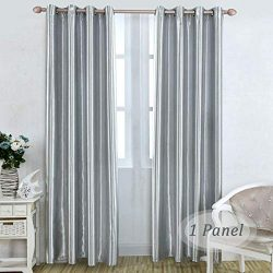 Silver Grey Thermal Blackout Curtains 1 Panel of Modern Solid Drapes and Curtains Room Darkening ...
