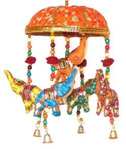Indian Traditional Elephant Orange Umbrella Hanging Layer Of Five Elephant Door Hanging, Decorat ...