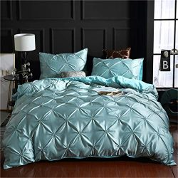 Erosebridal Blue Pinch Pleated Quilt Cover Full Size Silk Like Satin Pintuck Bedding Set with Zi ...