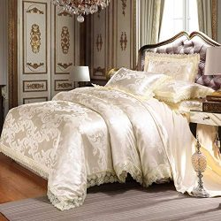 UniTendo 4 Piece Sateen Cotton Jacquard Duvet Cover Sets,Delicate Floral Pattern Bedding Sets,Du ...