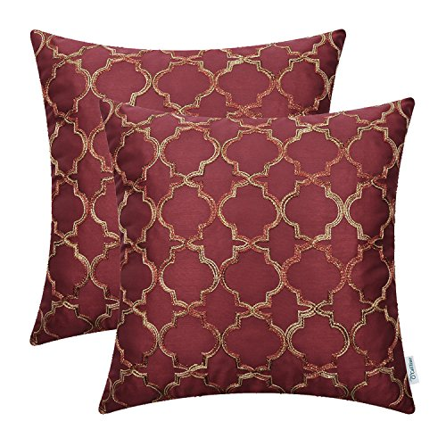 CaliTime Pack of 2 Faux Silk Throw Pillow Covers Cases for Sofa Couch Home Decoration 18 X 18 In ...