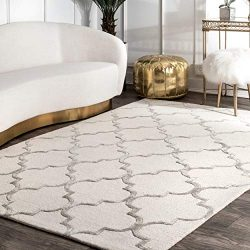 nuLOOM Faux Silk Moroccan Wool Rug, 2′ 6″ x 8′, Nickel