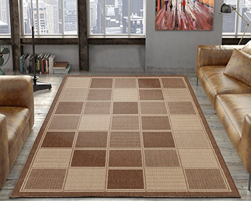 Silk Road Concepts Collection Contemporary Rugs, 5'3″ x 7'3″, Brown Boxes