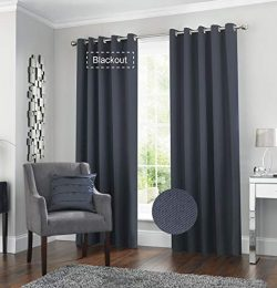 BERYHOME Drapes for Bedroom Blackout 90 Inch Long, Heat and Full Light Solid Grommet Curtains, S ...