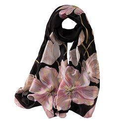 100% Silk Scarf – Women's Fashion Large Sunscreen Shawls Wraps – Lightweight F ...