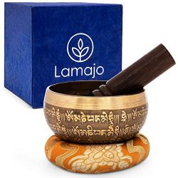 Lamajo Wellness ~ Tibetan Singing Bowl Set ~ with Mallet and Silk Cushion ~ Crown Chakra Design  ...