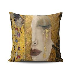 Hoooottle Custom Luxury Funny Colorful The Kiss By Gustav Klimt Euro Square Pillowcase Zippered  ...