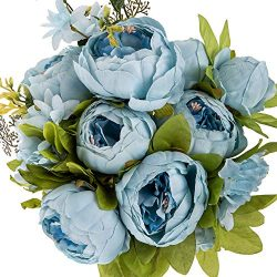 Flojery Silk Peony Bouquet Vintage Artificial Peonies Flower for Home Wedding Party Decor (1pcs, ...
