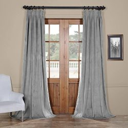 HPD Half Price Drapes VPCH-145002-96-FP Signature Pleated Blackout Velvet Curtain (1 Panel), 25  ...