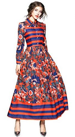 Women's Vintage Paisley Print Shirt Maxi Dress Causal A-line Party Long Dress