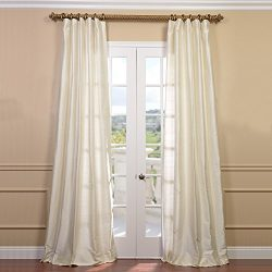 HPD Half Price Drapes DIS-ID7727-84 Textured Dupioni Silk Curtain (1 Panel), 50 X 84, Pearl