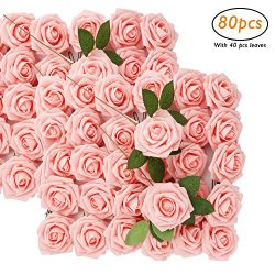 Woaiwo-q Artificial Flowers Artificial Roses Wedding Decorations,80pcs Fake Rose Fabric Silk Flo ...