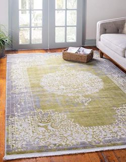 Unique Loom New Classical Collection Traditional Distressed Vintage Classic Light Green Area Rug ...