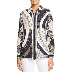 Tory Burch Womens Sienna Silk Print Button-Down Top