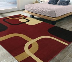 Silk Road Concepts Collection Abstract Rugs, 5'3″ x 7'3″, Red