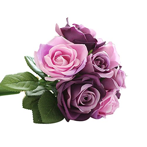 Kinghard 9 Heads Artificial Silk Fake Flowers Leaf Rose Wedding Floral Decor Bouquet (Purple)