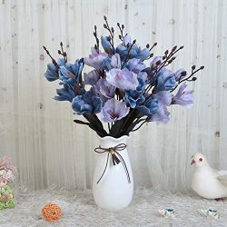 UIKKOT Artificial Magnolia Bouquets with Ceramic Vase Fake Silk Flowers Decoration for Party Hom ...
