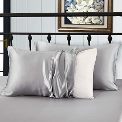 XUANDIAN Silk Pillowcase for Hair and Skin Microfiber Pillowcases Non Zipper Slip Pillowcases,Gr ...