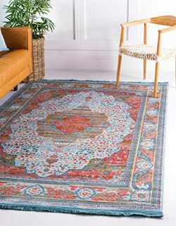 Unique Loom Baracoa Collection Bright Tones Vintage Traditional Light Blue Area Rug (10′ 0 ...