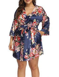 Allegrace Women's Plus Size Floral Print Wrap Front Satin Kimono Robes Sexy Nights Short P ...