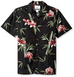 28 Palms Men's Standard-Fit 100% Cotton Tropical Hawaiian Shirt, Black/Pink Bamboo Orchid  ...