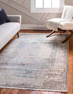 Unique Loom New Classical Collection Traditional Distressed Vintage Classic Light Blue Area Rug  ...