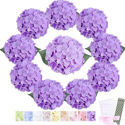 Trimgrace Purple Hydrangea Silk Flowers Heads 10 PCS with Stems and Leaves- Bulk Aritificial Hyd ...