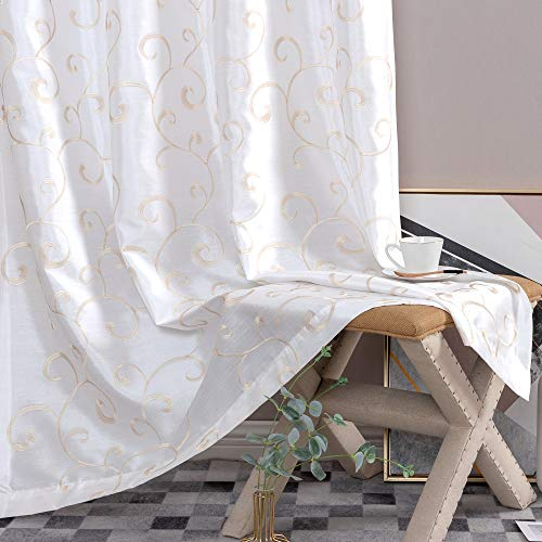 jinchan Curtains White 63 inches Living Room Drapes Faux Silk Dupioni Swirl Embroidery Grommet T ...