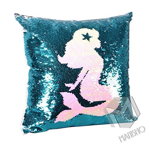 MANISHO Sequin Square Throw Pillow Case DecorativeSofa Home DecorMagic Reversible Sequin Pillo ...