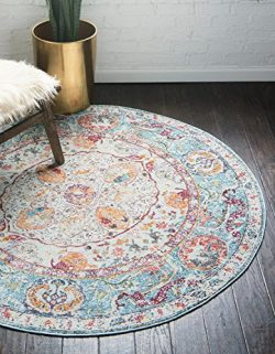 Unique Loom Baracoa Collection Bright Tones Vintage Traditional Light Blue Round Rug (5′ 5 ...