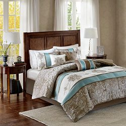 Madison Park Caroline King Size Bed Comforter Set Bed in A Bag – Blue, Taupe, Jacquard Pai ...