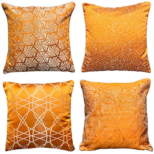 WOMHOPE Pack of 4 Throw Pillow Covers Cases Decorative Square Cushion Covers Shells Modern Shini ...