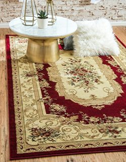 Unique Loom Versailles Collection Traditional Classic Red Area Rug (3′ 3 x 5′ 3)