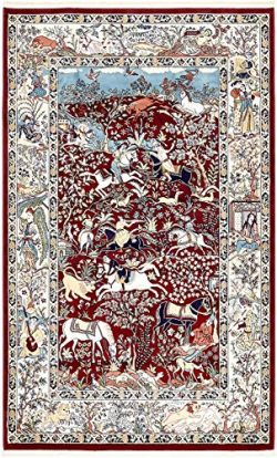 Unique Loom Narenj Collection Classic Traditional Hunting Scene Textured Burgundy Area Rug (5 ...