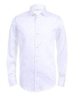 Calvin Klein Boys Long Sleeve Sateen Dress Shirt, White, 14/16 Husky
