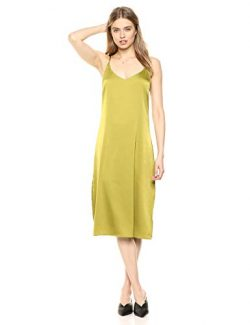 The Drop Women's Ana Silky V-Neck Midi Slip Dress, Chartreuse, XL