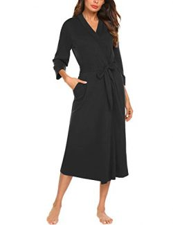 MAXMODA Women Kimono Robe Plus-Size Bath Robes Cotton Sleepwear(Black, M)