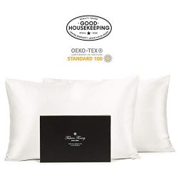 Fishers Finery 30mm 100% Pure Mulberry Silk Pillowcase Set Good Housekeeping Quality Tested (Whi ...