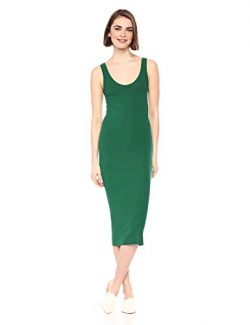 Enza Costa Women's Stretch Silk Rib Tank Midi Dress, Dark Emerald, X-Small