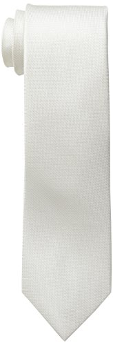 Calvin Klein Men's Silver Spun Solid Tie, White, Regular