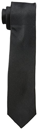 Original Penguin Men's Solid Satin Super Slim Tie, Black, One Size