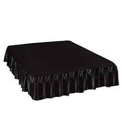 PiccoCasa Satin Silk Bed Skirt 300 Thread-Count Dust Ruffle with 18 Inch Drop – Black, Kin ...
