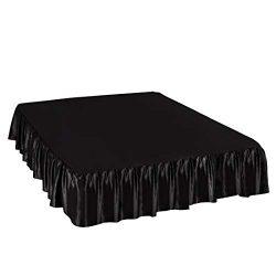 PiccoCasa Satin Silk Bed Skirt 300 Thread-Count Dust Ruffle with 18 Inch Drop – Black, Kin ...